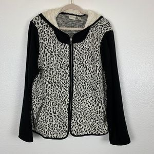Chico's Zenergy Leopard Full Zip Jacket Shearling